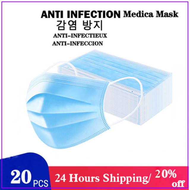 10/20/30/200pcs White Disposable Face Mask 3 Layer Anti Virus Mouth Face Mask Prevent Anti-Dust Bacteria Proof Flu kind M 1