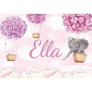 Image 4 - Allenjoy 코끼리 배경 아기 샤워 생일 푸른 하늘 꽃 풍선 사진 배경 신생아 파티 Photocall 배너