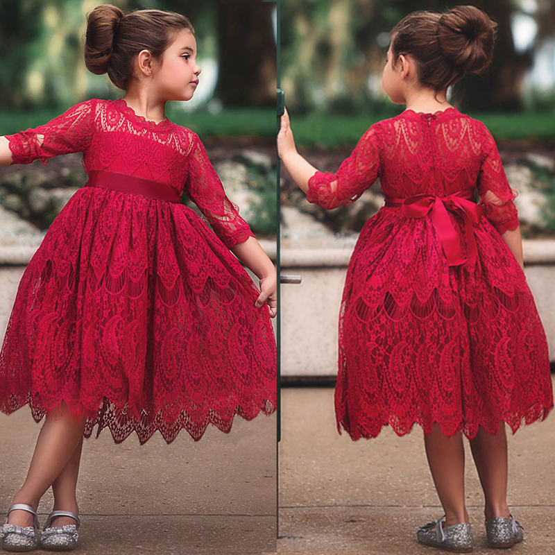 Lace Dress Flower Embroidery Dress Princess Autumn Winter Birthday Party Ball Gown Christmas Children Clothing Casual Wear