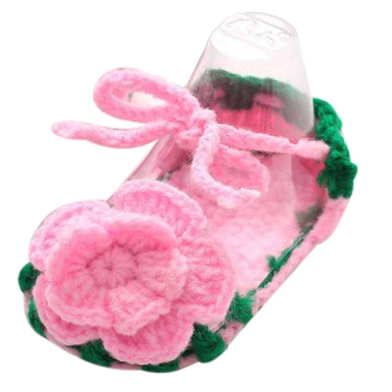 Baby Girl Handmade Knit Soft Sole Prewalker Shoes Socks With Flower