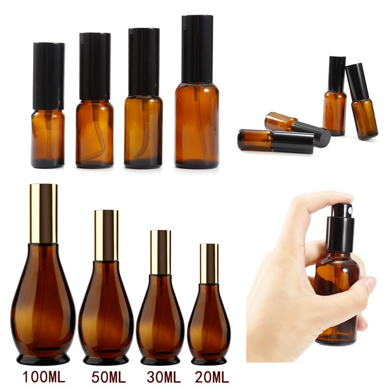1Pc Portable Travel Empty Cosmetic Sprayer Bottle Perfume Glass Pot Gourd-shaped Essential Oil Container Atomizer Amber Color