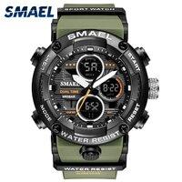 Reloj deportivo militar para hombre, cronómetro Digital con luz LED de 50M, resistente al agua, de cuarzo, 8038