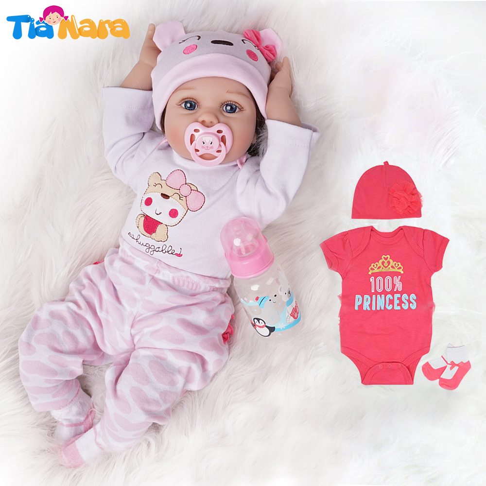 55cm Reborn Baby Doll Girl 2 Outfits Silicone Vinyl Newborn Light Pink And Dark Pink