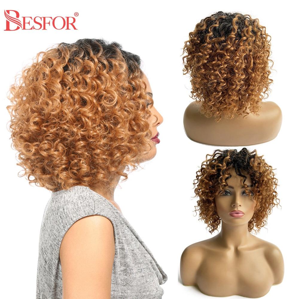 Cheap Full Machine Short Deep Curly Ombre 1B30 Bangs Human Hair Wig Pixie Cut Front Glueless Preplucked Blunt Cut Remy Bob Wigs