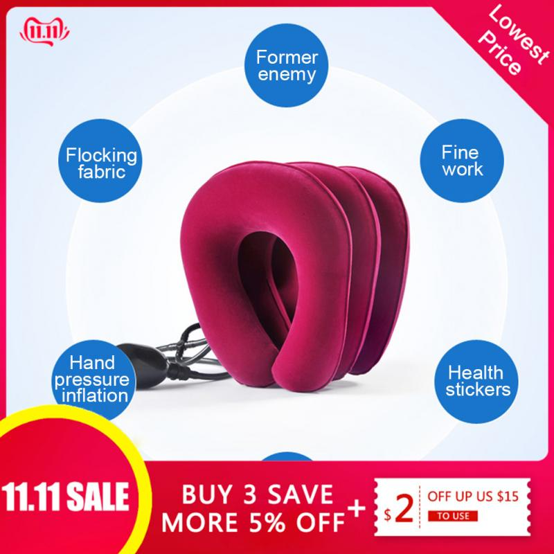 3 Layers Inflatable Neck Traction Collar Soft Cervical Stretching Device Air Cervical Pillow For Neck&Shoulder Pain Relief Brace