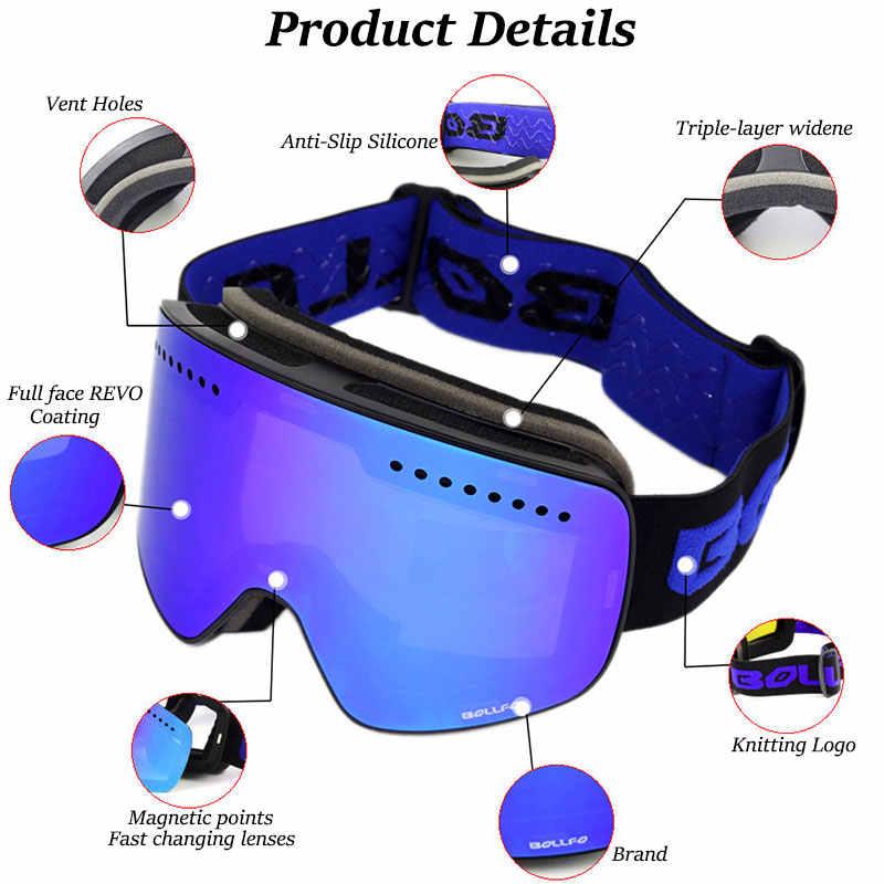 Лыжные очки с магнитными двухслойными поляризованными линзами, незапотевающие очки UV400 для катания на лыжах и сноуборде для мужчин и женщин, лыжный Чехол для очков