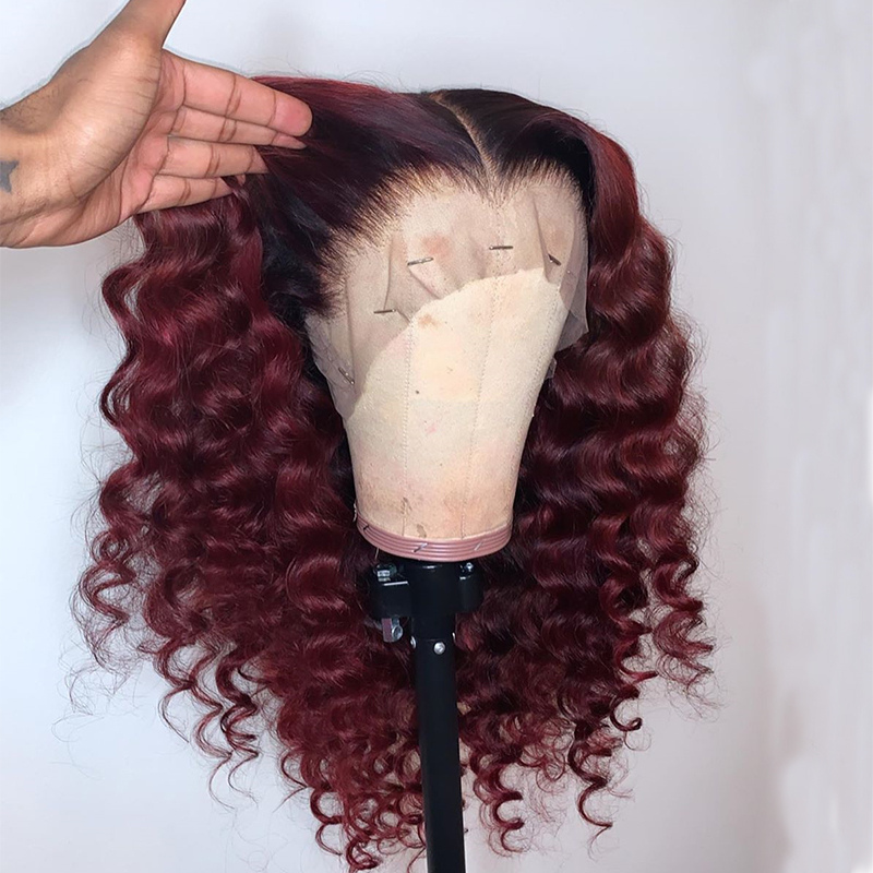 Ombre Colored Lace Front Human Hair Wigs  Red 99j Burgundy Disposable Curly Lace Front Wigs For Black Women Remy