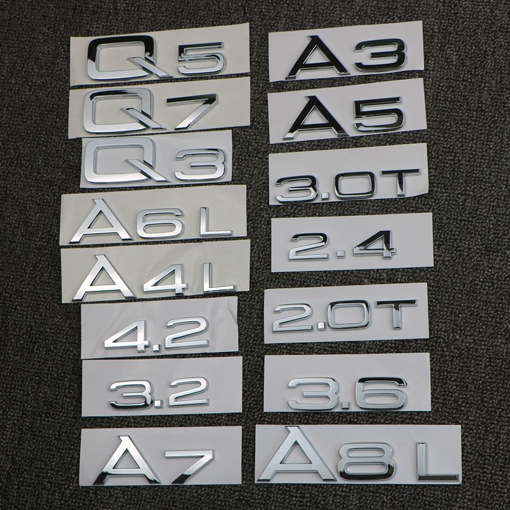 Эмблема багажника для Audi A3 A4 A5 A6 A7 A8 Q3 Q5 Q7 3,2 3,0 T 2,0 T 4,2 2,4 3,6
