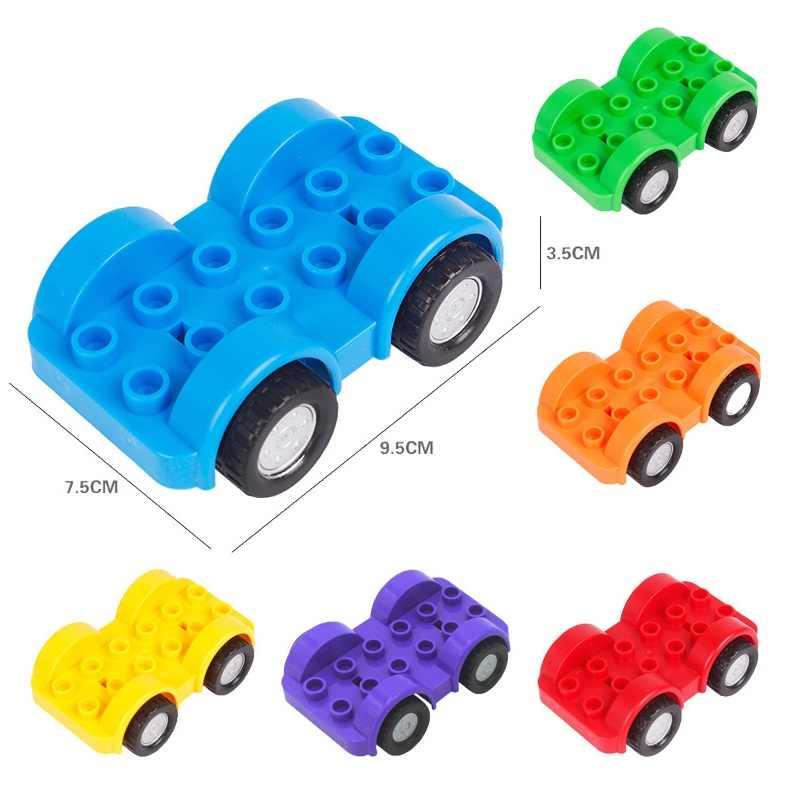 DIY duży rozmiar klocki akcesoria samochód ciężarówka samolot motocykl pojazd cegły kompatybilny Legoed Duplos części zabawki dla dzieci prezent