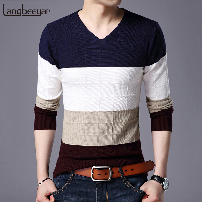 2019 New Fashion Brand Sweater Mens Pullovers V Neck Slim Fit Jumpers Knitred Striped Autumn Korean Style Casual Men Clothes
