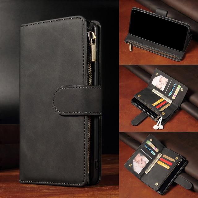 高級フリップマルチカードファスナー財布革iphone 12プロマックスケースiphone x xs xr 6 6s 7 8プラス11 12ミニケース