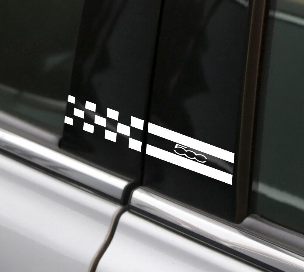 707 Motoring Fits Fiat 500 2012-2015 Real Carbon Fiber Black Window Pillar Posts Trim 6PCS
