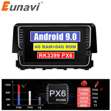 Eunavi 2 DIN Android coche GPS headunit para Honda Civic 2016 de 2017 de 2018 radio Estéreo reproductor multimedia 4G 64G IPS TDA7850 NO DVD(China)