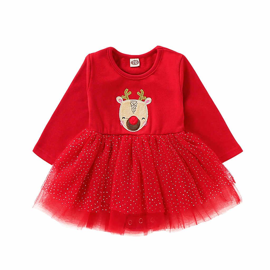 Bebé Vestido De Navidad Recién Nacido Bebé Niña Vestido Rojo De Manga Larga Tutú Vestido De Fiesta Para Bebé Niña Pelele De Vestuario De Navidad 6