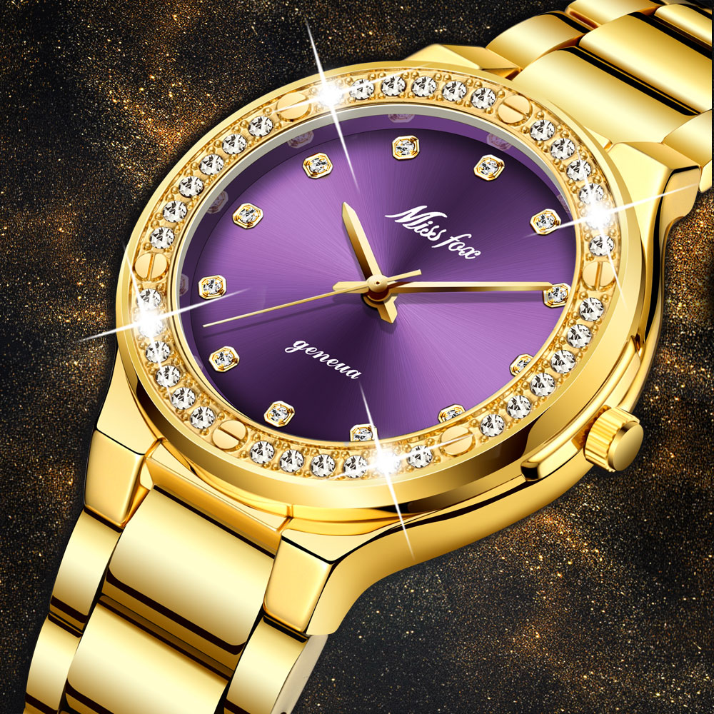 Dropshipping New 2020 Hot Selling Diamond Wrist Watches For Women Steel Two Tone Gold Female Watch Hour Purple Quartz Wristwatch