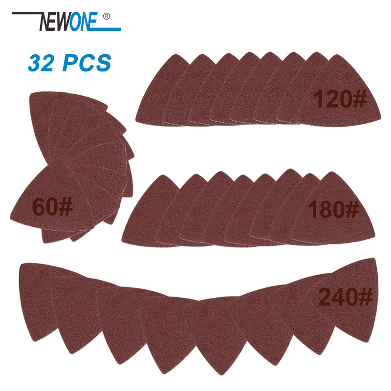 32pcs Sanding Triangular Paper(60,120,180,240# Each 8) Fits For Multifunction Power Tool As Fein Multimaster,Dremel Tools