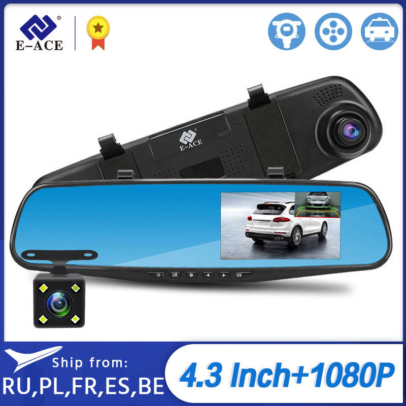 E-ACE Full Hd 1080P Auto Dvr Camera Auto 4.3 Inch Achteruitkijkspiegel Digitale Video Recorder Dual Lens Registratory Camcorder