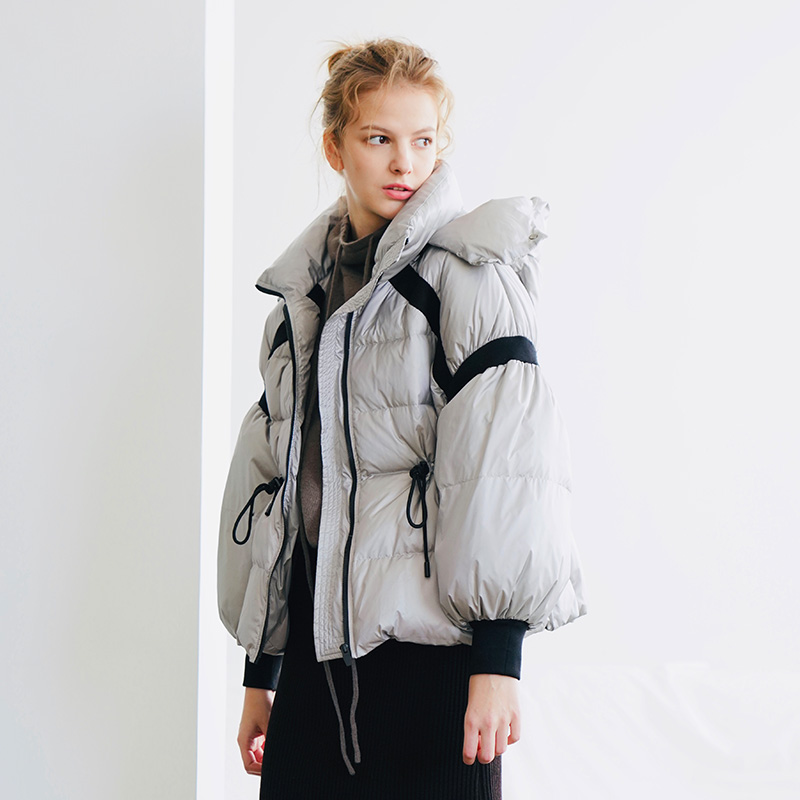 Hat Detachable 90% White Duck Down Jacket 2019 New Women's Short Lantern Sleeve Drawstring Waist Down Jacket 394002