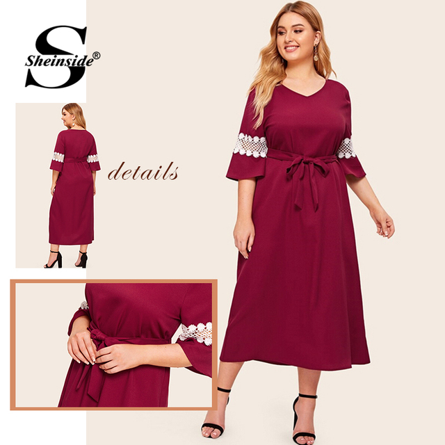 Sheinside Plus Size Elegant Lace Patchwork Half Sleeve Dress Women 2019 Autumn V Neck Belted Dresses Ladies Straight Dress 4
