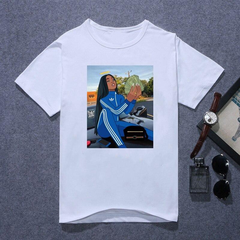Black Girl Make Money Not Friends Tshirt Femme Sexy Melaninshirt Women Vogue T Shirt Hipster Letters Streetwear Drop Shipping