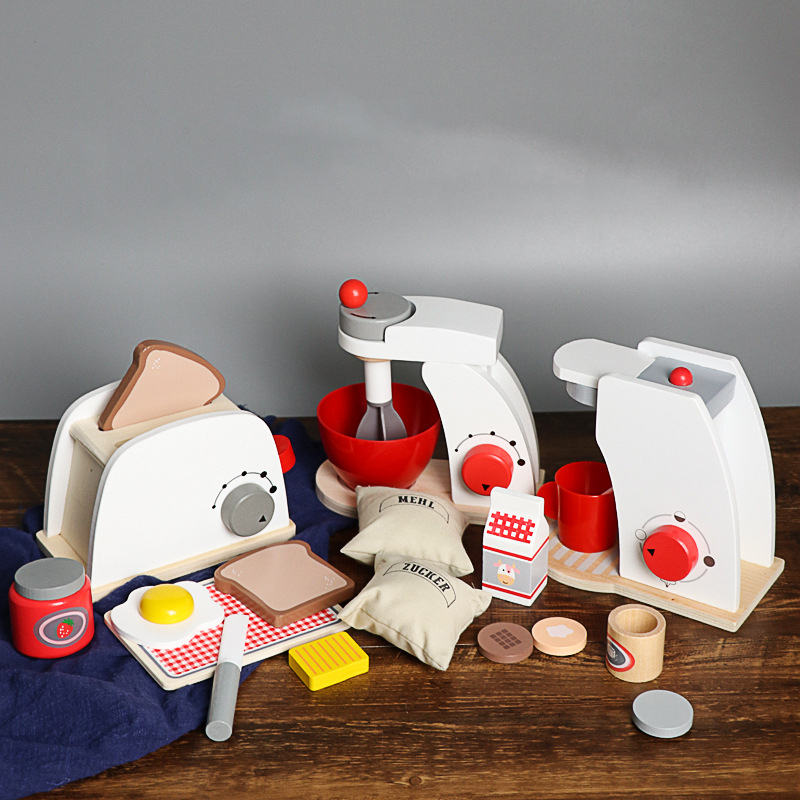 Kids Wooden Pretend Play <font><b>Sets</b></font> Pretend Toasters Bread Maker Coffee Machine Game Children's <font><b>Toy</b></font> Mixer <font><b>Kitchen</b></font> Educational <font><b>Toy</b></font> Gift image