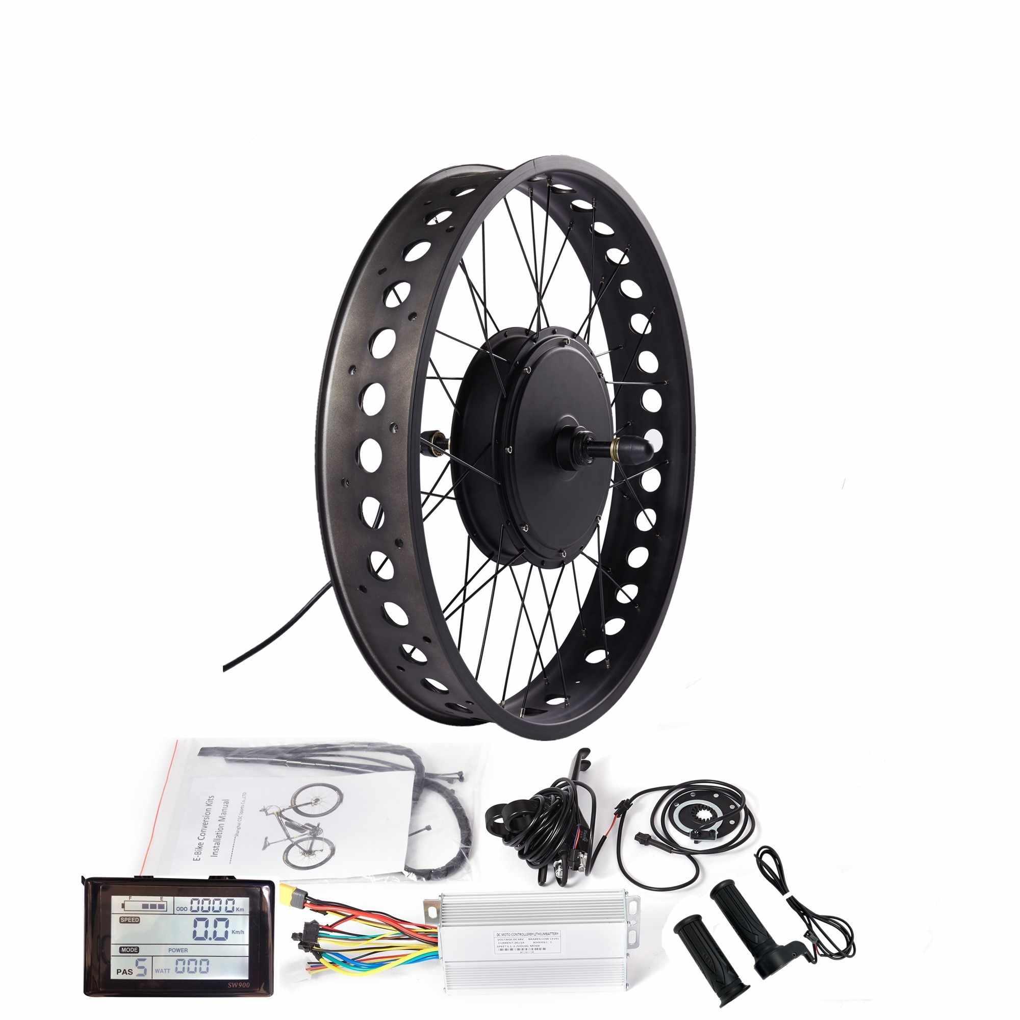 """36/48 فولت الدهون E-الدراجة تحويل عدة ل 20 """"/24""""/26 """"الثلوج دراجة كهربائية مع عرض SW900 250/350/500/750/1000/1500 واط محور المحرك"""