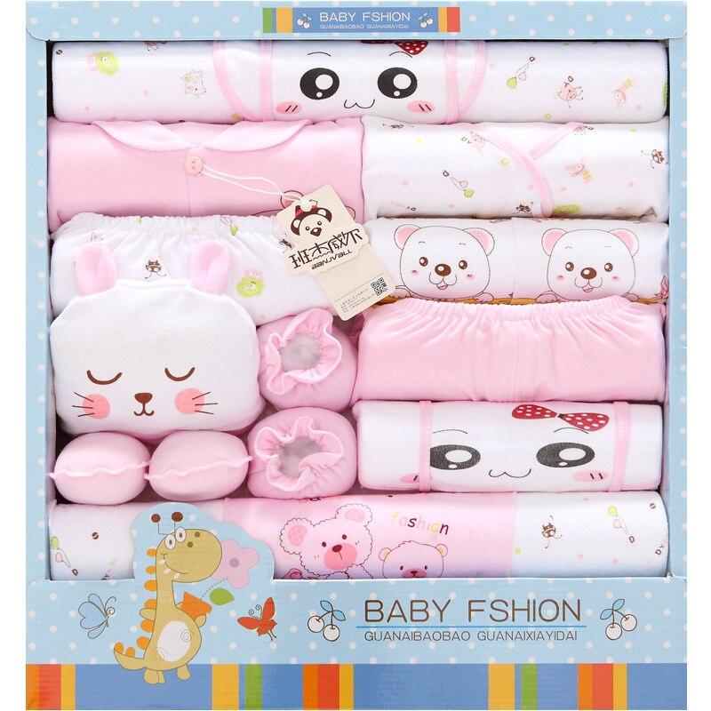 18 шт.; хлопковая одежда для малышей; Подарочная коробка для одежды для новорожденных; сезон весна лето; комплект одежды для младенцев; одежда