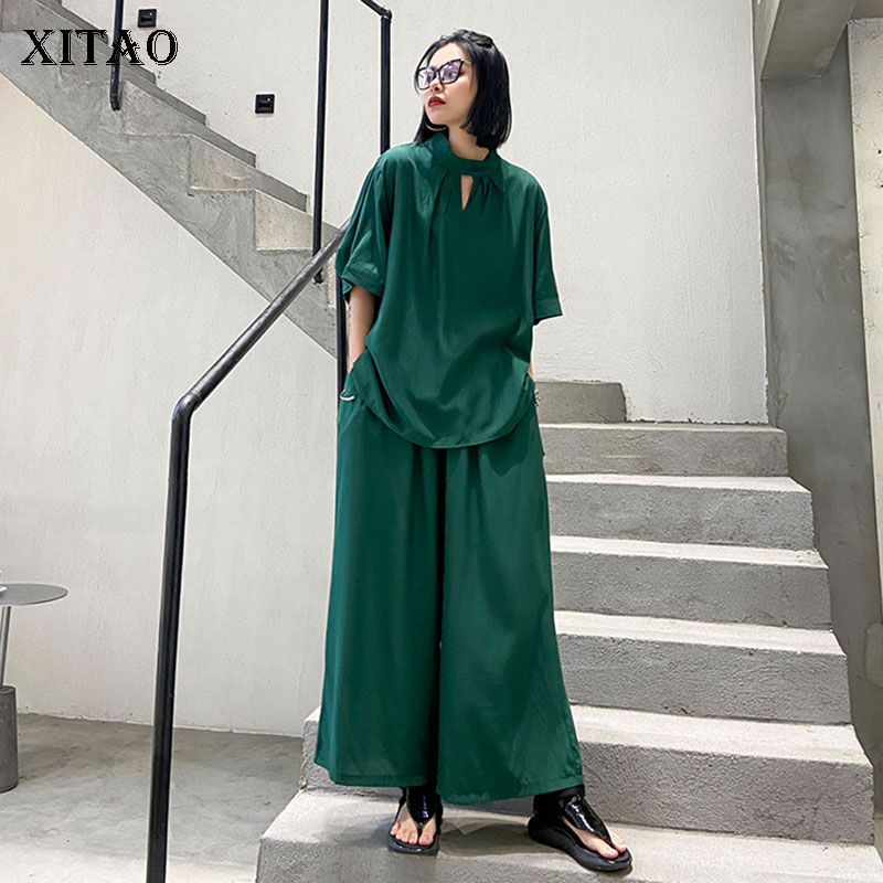 XITAO Leisure Plus Size Loose 2 Piece Set Women Fashion Solid Color Short Sleeve Top Two Piece Set Top And Pants Summer XJ4702