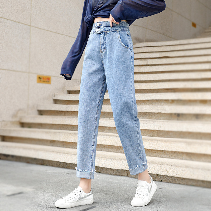 Jeans Women's New High Waist Cropped Drape Wide-Leg Pants Korean Version Of The Autumn And Winter Jeans