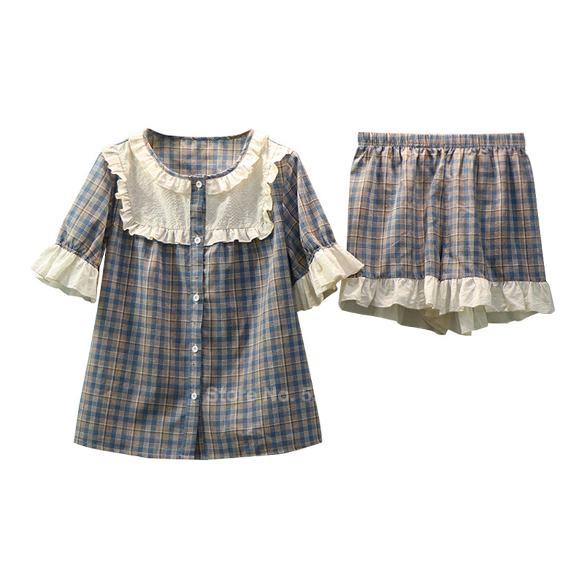 Medieval Mori Girl Pajamas Set Summer Short Sleeve Plaid Lace Woman Sleepwear Court Lolita Vintage Pyjamas Renaissance Dirndl