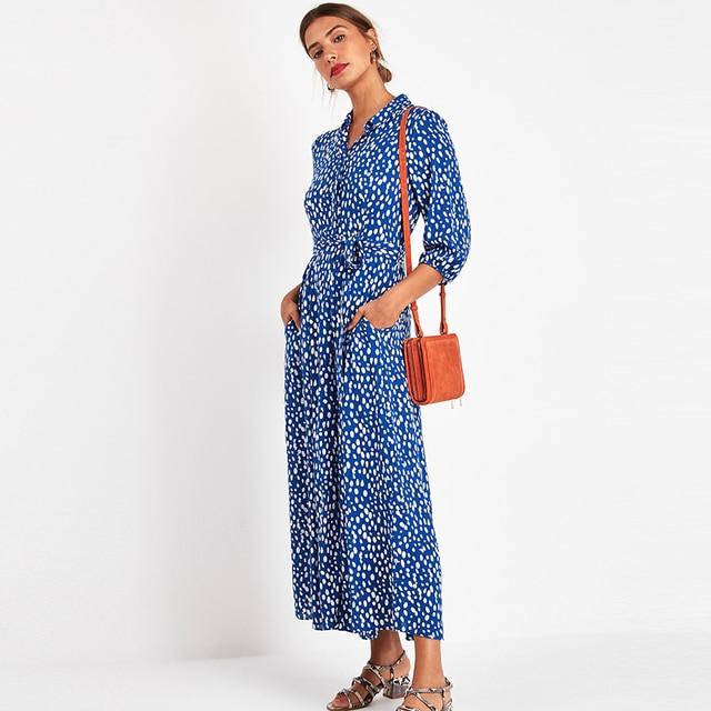 女性のエレガントなロングプリントドレス 3 分袖ボヘミアンマキシドレスターンダウン襟 vestidos mujer