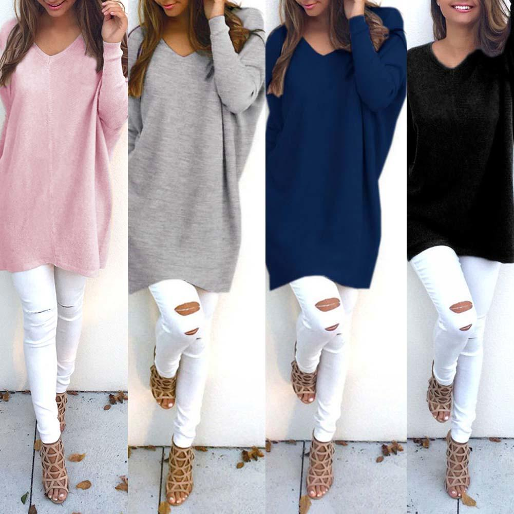 Fashion Sweater Women V Neck Long Sleeve Tunic Pullover Sweaters Casual Loose Knitted Sweater Solid Color Women's Sweater