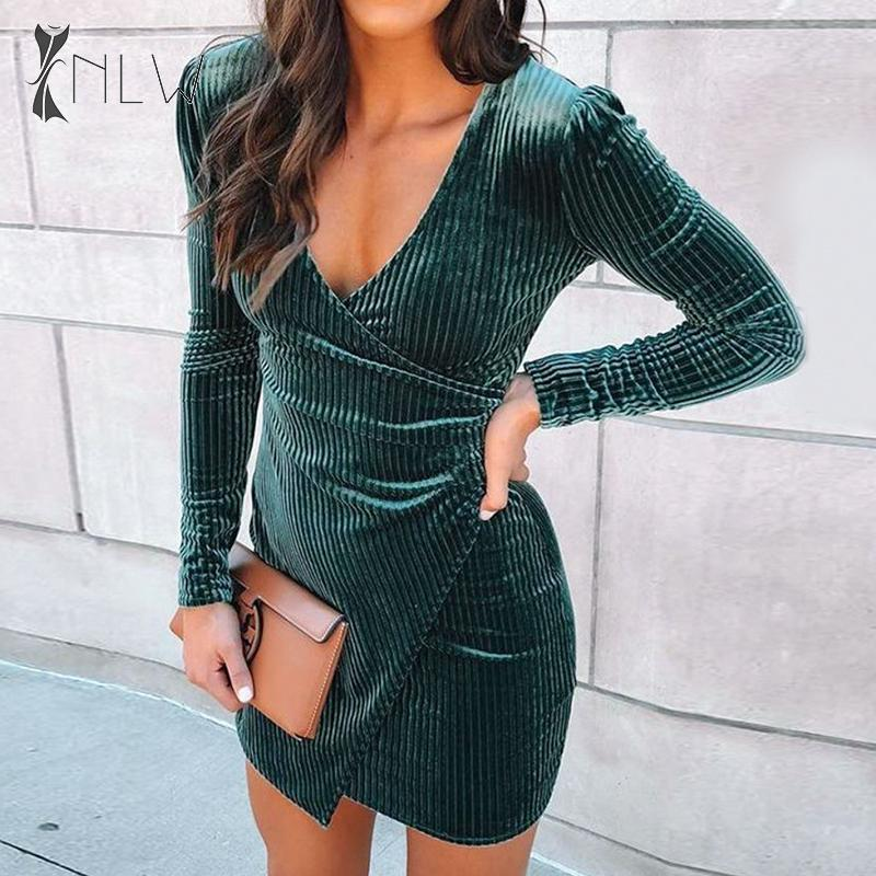 NLW Sexy V Neck Velvet Bodycon Dress Women Autumn Winter Night Club Mini Dress Long Sleeve Party Dress Vestidos Big Size