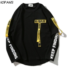 ICPANS Hip Hop Ribbon Sweatshirts Men  Pullover Streetwear Cotton Casual Men Sweatshirt Letter Printing Oversize 2019 Spring New 49 hot back ribbon pullover printed sweatshirts men 2018 hip hop spring casual fashion long sleeve swag sweatshirts streetwear