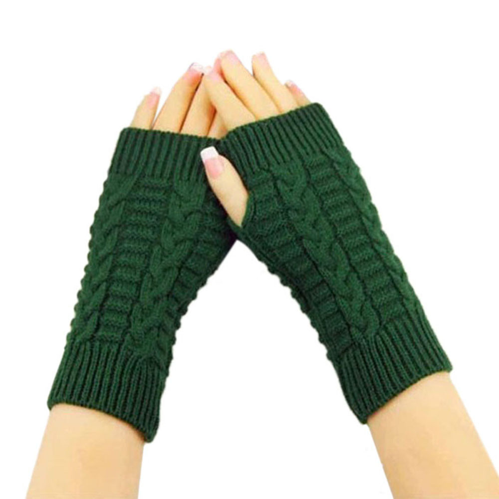 Knitted Long Hand Gloves Women's Warm Embroidered Winter Gloves Fingerless Gloves For Women Girl #YL5