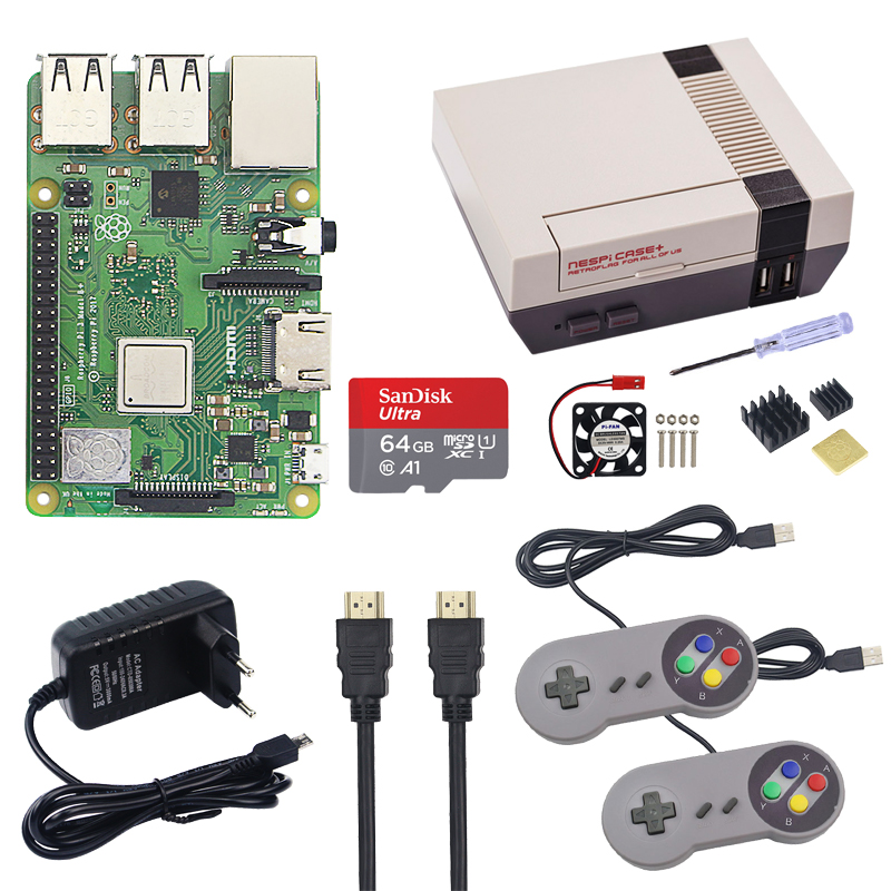 Raspberry Pi 3 Model B+ Kit With NESPi Case + 64GB SD Card + Cooing Fan + Heatsink + HDMI Cable + Power Adapter + Gamepads