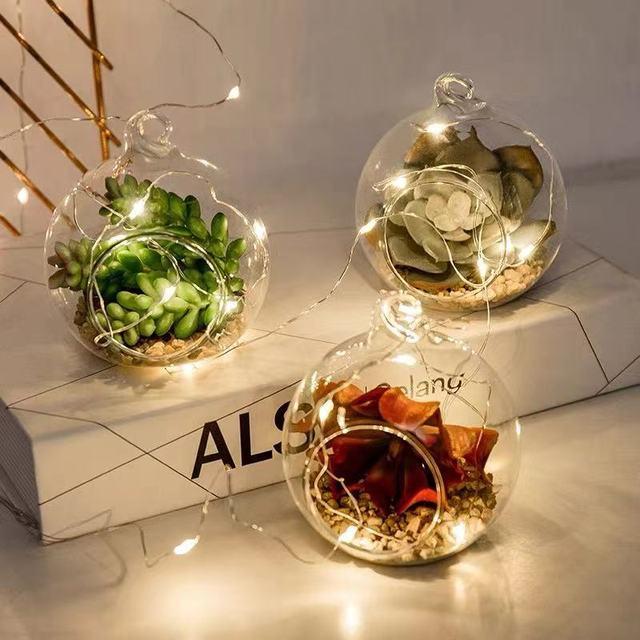 8 יח' מיני כדורי זכוכית לתליה – מתאים לנרות או צמחים קטנים 2