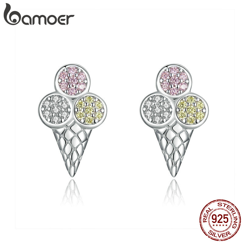 Bamoer Summer Ice Cream Ball Stud Earrings For Women Colorful CZ Sterling Silver 925 Jewelry Korean Design Bijoux SCE642