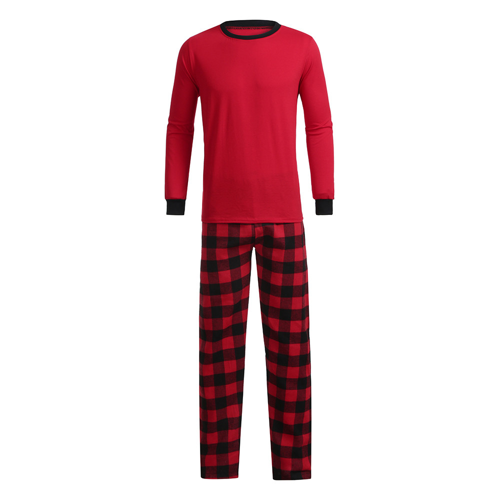 Men Sleepwear Pajama Pants Red Christmas Winter Pijama Hombre Plaid 2-piece Set  D91116