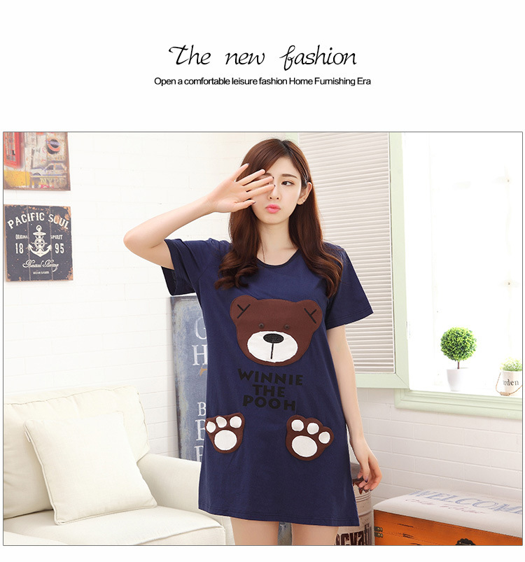 According To Feminine Pajamas Women's Summer Short-sleeved Short Skirt Cute Cartoon Bear Nightgown Knitted Cotton Casual Homewea