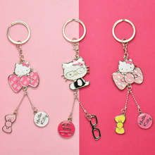 Hello Kitty Keychains WHITE Hellokitty Key Chain Cute Cat Portachiavi Bag Charm Key Ring Best Gift For A Girl подвеска hello kitty hnl1704chc hellokitty