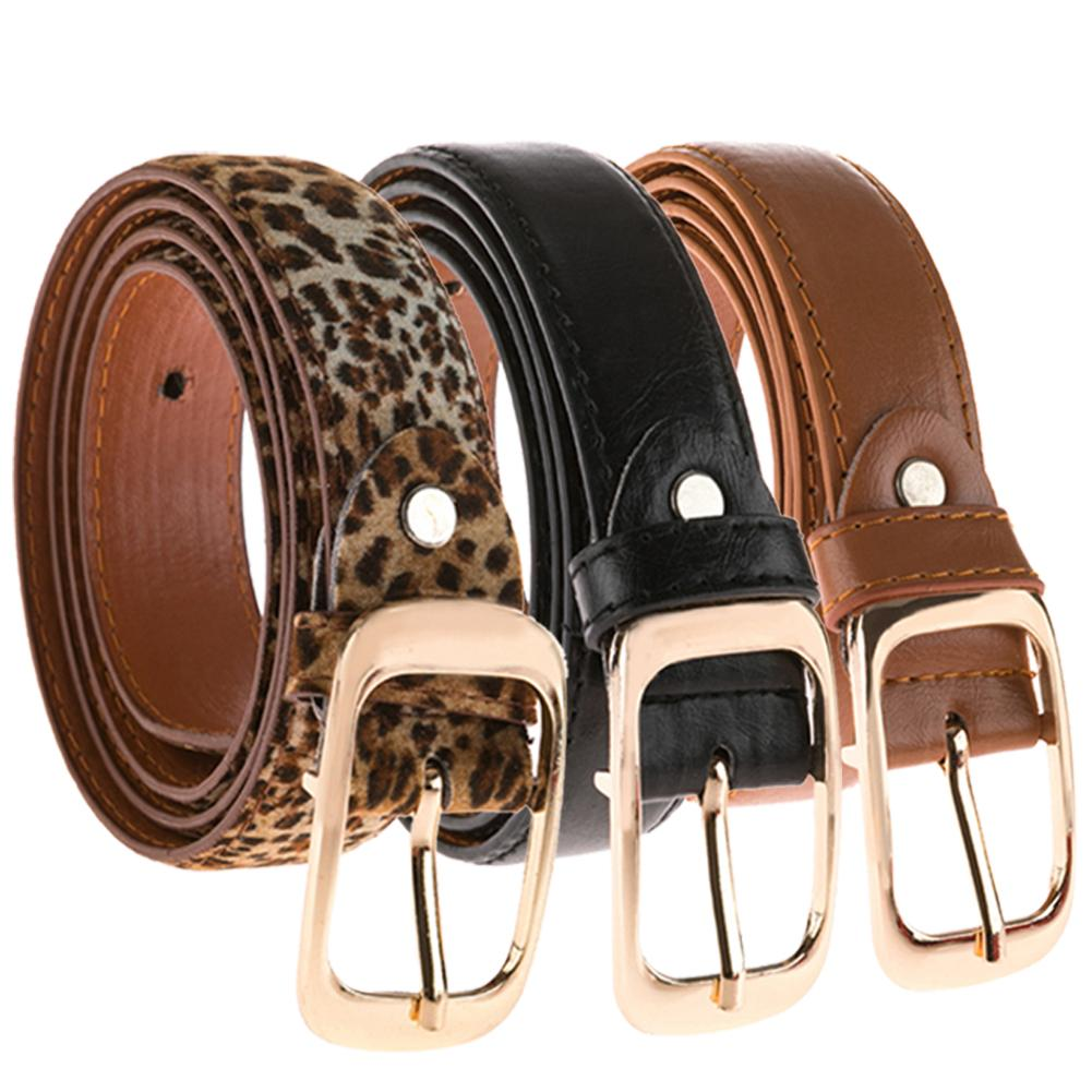 Women Leopard Print Black Brown Leather Belt Ladies Fashion Buckle Decorative Belt Luxury Design Brands Belt Female Denim Pants