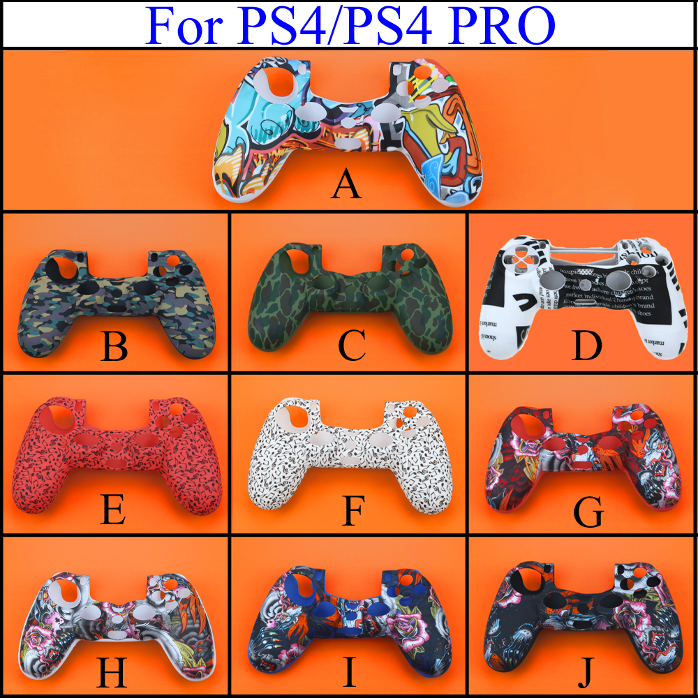 YuXi Camouflage Soft Silicone Cover Case Protection Skin For Sony Playstation 4 PS4 For Dualshock 4 Controller For Ps4 Pro Slim