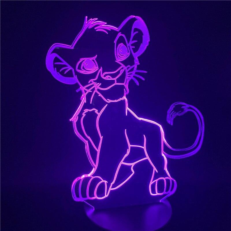luz da noite dos desenhos animados o rei leao simba led 3d mudanca de cor da