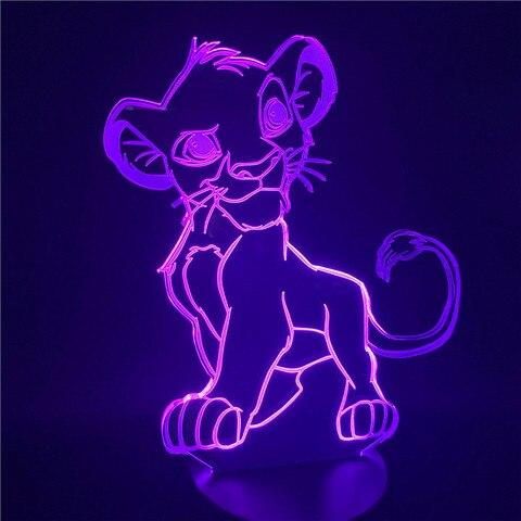 luz da noite dos desenhos animados o rei leao simba led 3d mudanca de cor