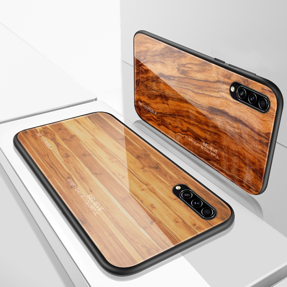 Wooden Grain Tempered Glass <font><b>Case</b></font> For <font><b>Samsung</b></font> <font><b>Galaxy</b></font> A50 <font><b>Case</b></font> A30 A10 A20 <font><b>A40</b></font> A30S A50S Phone <font><b>Case</b></font> On SM A505F A 50 Back Cover image