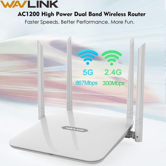 Беспроводной маршрутизатор Wavlink AC1200, мощный двухдиапазонный Wi Fi расширитель с антеннами с высоким коэффициентом усиления 4*5 дБи, более широкое покрытие, WPS простая настройка