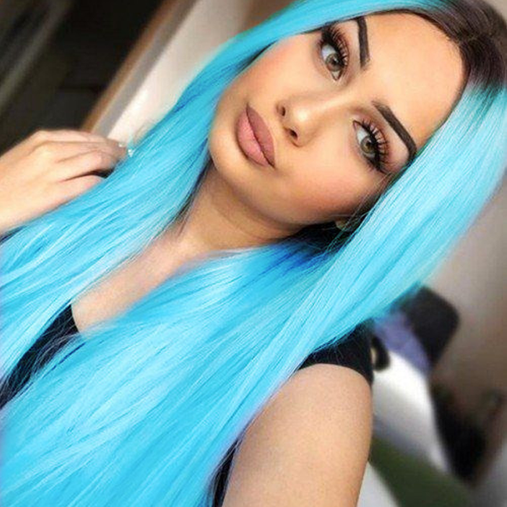 Websterwigs Ombre Wigs Long Straight Wig Heat Resistant Hair Synthetic Lace Front Wigs For Women Heat Resistant Fiber Hair