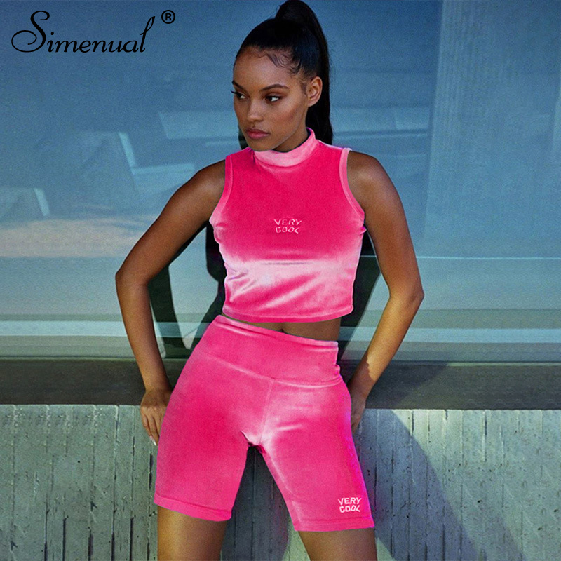 Simenual Velvet Letter Embroidery Matching Set Women Sleeveless Casual Workout 2 Piece Outfits Tank Top And Biker Shorts Sets