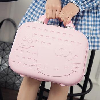 Carry on bagaż przybornik na kosmetyki wodoodporna twarda obudowa walizka makijaż box przenośny bagaż torba Mini walizki i torby podróżne tanie i dobre opinie 100 15cminch Stałe 24cminch 32cm Sprawy kosmetyczne zipper Moda 1 0KGkg YS002